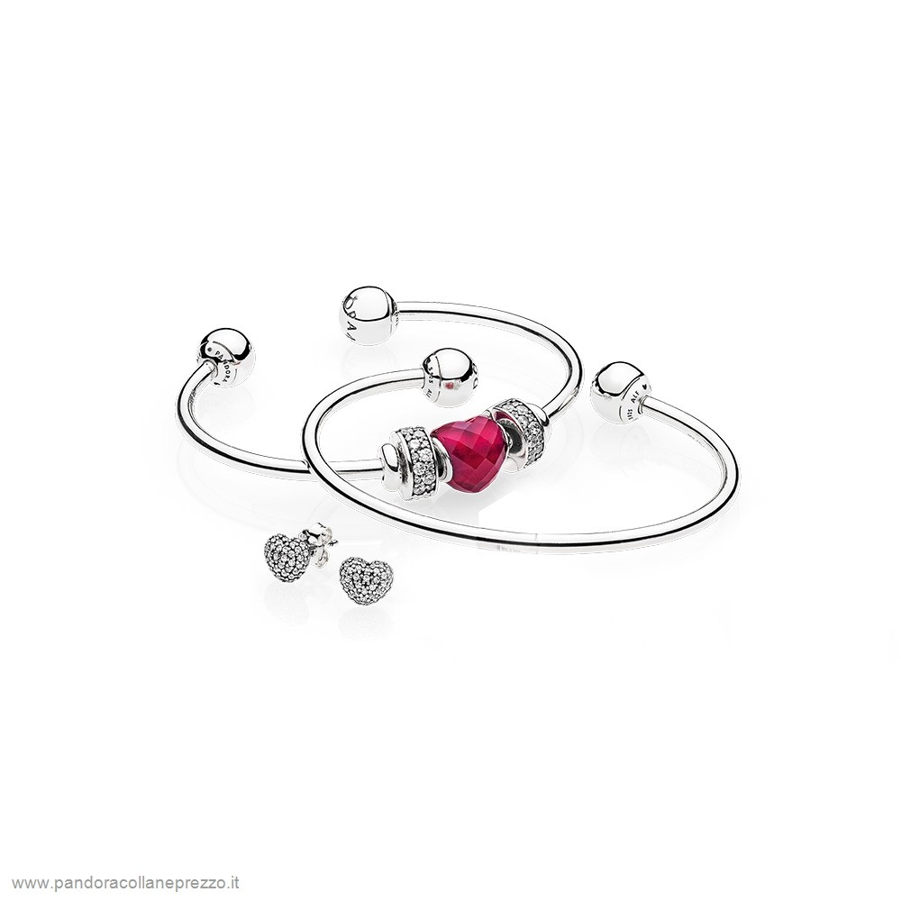 Rivenditori Pandora Online Be Mine Stacked Open Bangle Regalo