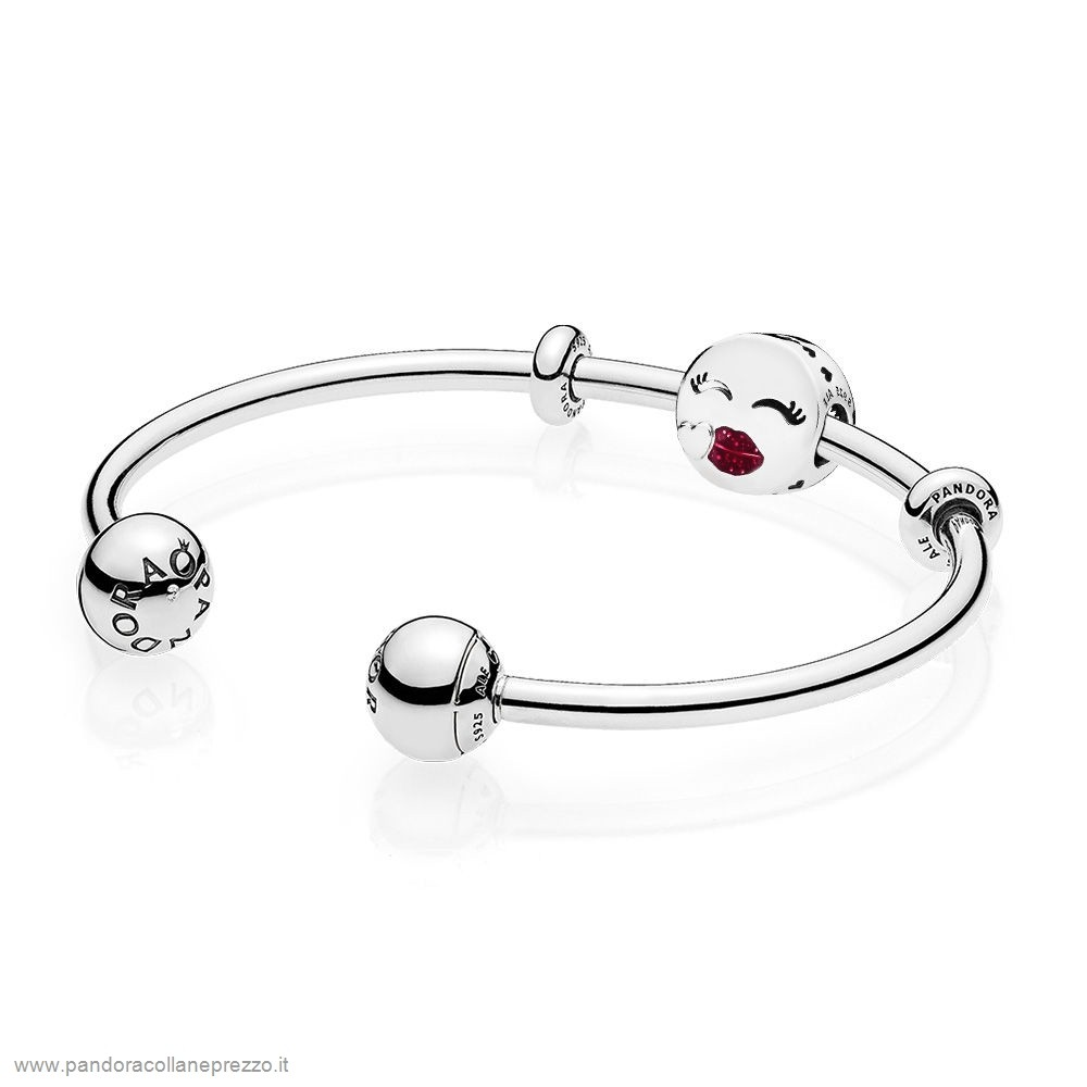 Rivenditori Pandora Online Cute Bacio Open Bangle Regalo